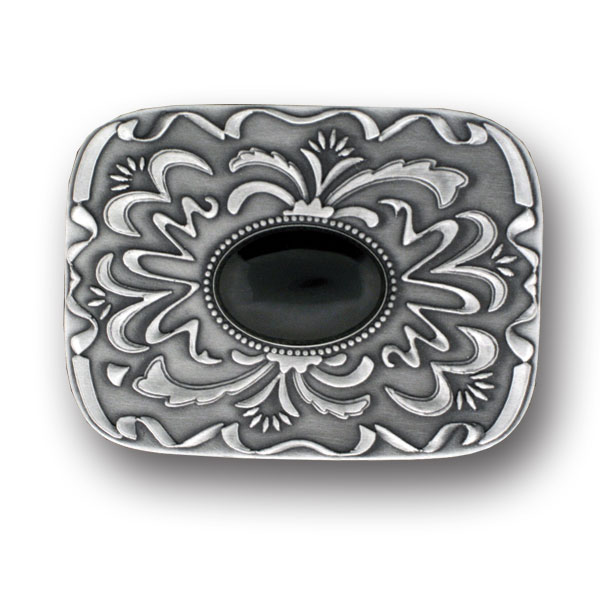 "Belt Buckle - Black Stone with Western Scroll - Our scroll and black stone buckle is an update on western style for contemporary tastes. Scroll work is finely sculpted in 3-D detail to accent black stone at center. Width is approximately 2 3/4"" x 3 3/4""."