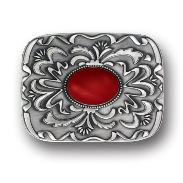 "Belt Buckle - Red Stone with Western Scroll - Our scroll and red stone buckle is an update on western style for contemporary tastes. Scroll work is finely sculpted in 3-D detail to accent red stone at center. Width is approximately 2 3/4"" x 3 3/4""."