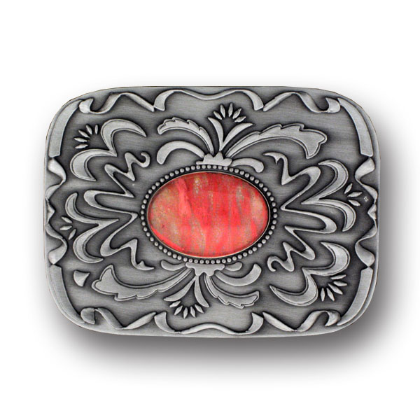 "Belt Buckle - Pink Stone with Western Scroll - Our scroll and pink stone buckle is an update on western style for contemporary tastes. Scroll work is finely sculpted in 3-D detail to accent pink stone at center. Width is approximately 2 3/4"" x 3 3/4""."