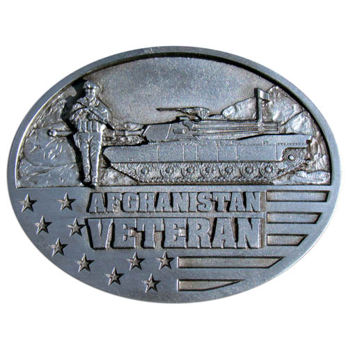 Afghanistan Veteran Buckle - This finely sculpted belt buckle contains exceptional 3D detailing. Siskiyou's unique buckle designs often become collector's items and are unequaled with the best craftsmanship. Made in the USA.