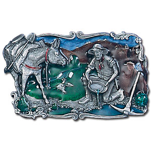 Belt Buckle - Panning for Gold - This finely sculpted and enameled belt buckle contains exceptional 3D detailing. Siskiyou's unique buckle designs often become collector's items and are unequaled with the best craftsmanship.