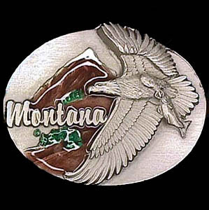 Belt Buckle - Montana Eagle - This finely sculpted and hand enameled belt buckle contains exceptional 3D detailing. Siskiyou's unique buckle designs often become collector's items and are unequaled with the best craftsmanship.