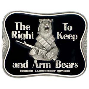Belt Buckle - The Right To Keep and Arm Bears - This finely sculpted and hand enameled belt buckle contains exceptional 3D detailing. Siskiyou's unique buckle designs often become collector's items and are unequaled with the best craftsmanship.