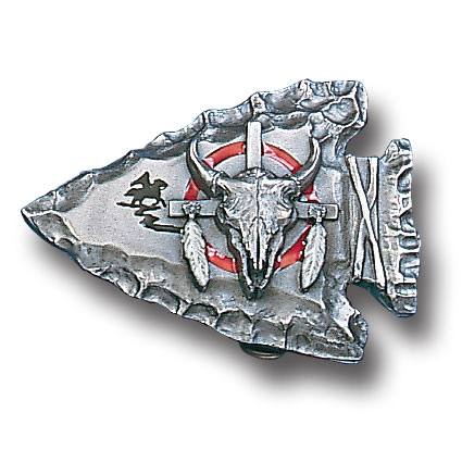Belt Buckle - Bison Head on Arrowhead - This finely sculpted and hand enameled belt buckle contains exceptional 3D detailing. Siskiyou's unique buckle designs often become collector's items and are unequaled with the best craftsmanship.