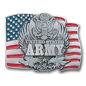Military Belt Buckle - U.S. Army  Flag Background - This finely sculpted and hand enameled belt buckle contains exceptional 3D detailing. Siskiyou's unique buckle designs often become collector's items and are unequaled with the best craftsmanship.