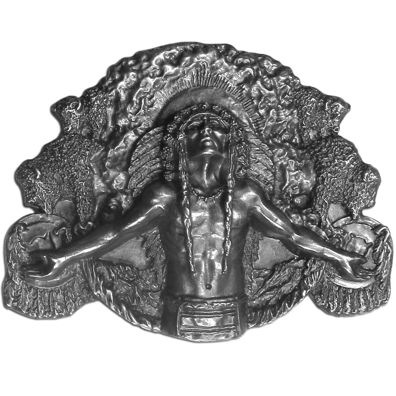"Great Spirit Antiqued Belt Buckle - This belt buckle has an Indian chief in full headress in the center and is surrounded by bison, dream catchers and feathers.  On the back are the words, """"In a sacred manner I live.  To the heavens I gazed, in a sacred manner I live, my horses are many.""""  This exquisitely carved buckle is made of fully cast metal with a standard bale that fits up to 2 inch belts."