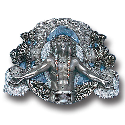 Belt Buckle - Great Spirit  - This finely sculpted and hand enameled Great Spirit belt buckle contains exceptional 3D detailing. Siskiyou's unique buckle designs often become collector's items and are unequaled with the best craftsmanship.