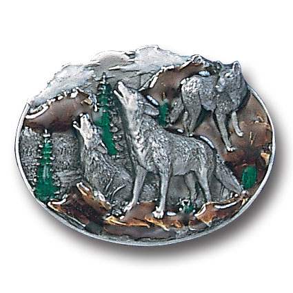 Belt Buckle - Howling Wolves - This finely sculpted and hand enameled howling wolf belt buckle contains exceptional 3D detailing. Siskiyou's unique buckle designs often become collector's items and are unequaled with the best craftsmanship.