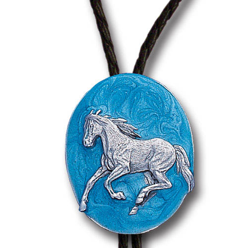 Bolo - Running Horse - Siskiyou's original bolo ties feature a fully cast metal tie piece on a high quality black tie with metal tips.