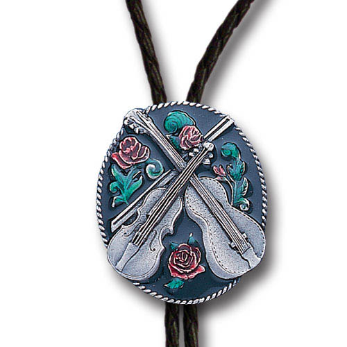 Bolo - Guitar and Fiddle - Siskiyou's original bolo ties feature a fully cast metal tie piece on a high quality black tie with metal tips.