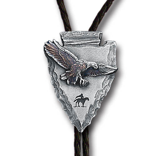 Bolo - Arrowhead Eagle - Siskiyou's original bolo ties feature a fully cast metal tie piece on a high quality black tie with metal tips.