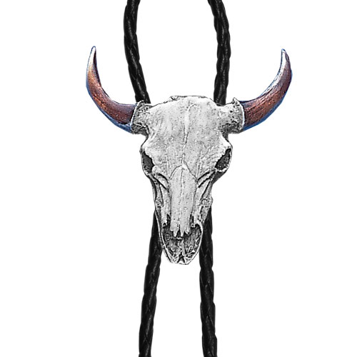 Bolo - Buffalo Freeform - Siskiyou's original bolo ties feature a fully cast metal tie piece on a high quality black tie with metal tips.