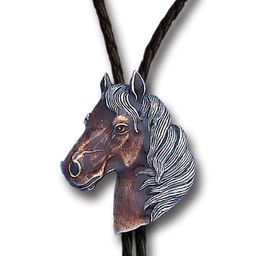 Bolo - Horse Head - Siskiyou's original bolo ties feature a fully cast metal tie piece on a high quality black tie with metal tips.