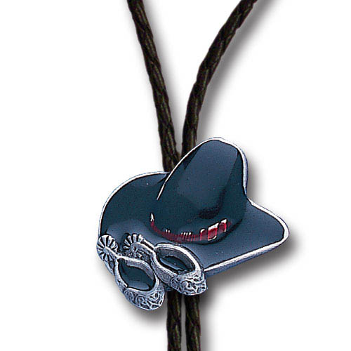 Bolo - Enameled Cowboy Hat and Spurs  - Siskiyou's original bolo ties feature a fully cast metal tie piece on a high quality black tie with metal tips.