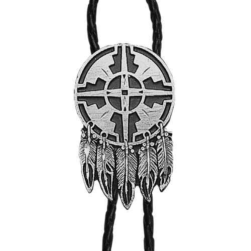 Bolo - Indian Shield (Diamond Cut) - Siskiyou's original bolo ties feature a fully cast metal tie piece on a high quality black tie with metal tips.
