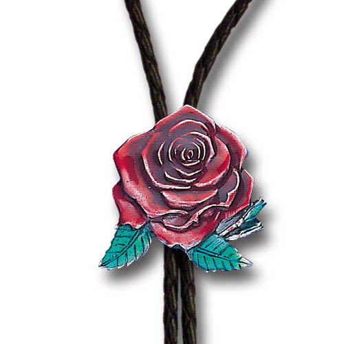 Bolo - Free Form Rose - Siskiyou's original bolo ties feature a fully cast metal tie piece on a high quality black tie with metal tips.