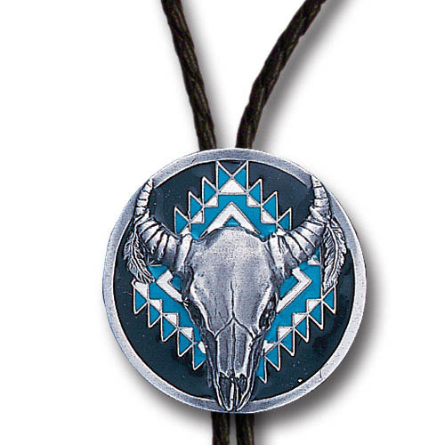 Bolo - Southwest Buffalo - Siskiyou's original bolo ties feature a fully cast metal tie piece on a high quality black tie with metal tips.