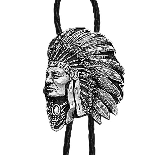 Bolo - Free Form Indian (Diamond Cut) - Siskiyou's original bolo ties feature a fully cast metal tie piece on a high quality black tie with metal tips.