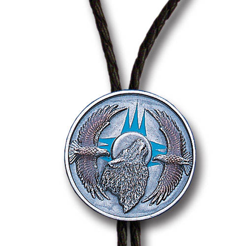 Bolo - Wolf and Eagles - Siskiyou's original bolo ties feature a fully cast metal tie piece on a high quality black tie with metal tips.