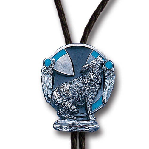 Bolo - Howling Wolf - Siskiyou's original bolo ties feature a fully cast metal tie piece on a high quality black tie with metal tips.