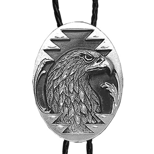 Large Bolo - Eagle Head (Diamond Cut) - Siskiyou's original bolo ties feature a fully cast metal tie piece on a high quality black tie with metal tips.