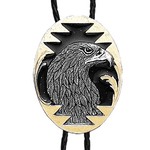 Large Gold Bolo - Eagle Head - Siskiyou's original bolo ties feature a fully cast metal tie piece on a high quality black tie with metal tips.
