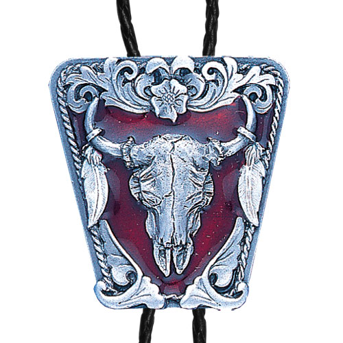 Large Bolo - Enameled Buffalo Skull - Siskiyou's original bolo ties feature a fully cast metal tie piece on a high quality black tie with metal tips.