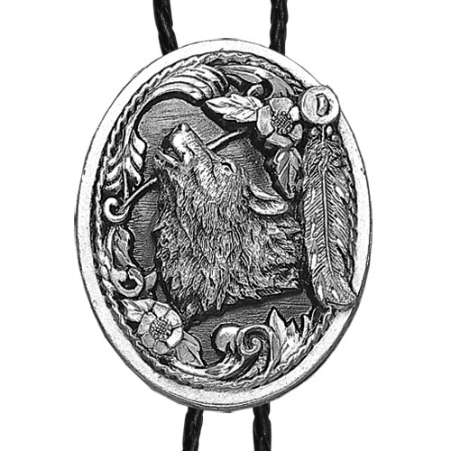Large Bolo - Wolf Head (Diamond Cut) - Siskiyou's original bolo ties feature a fully cast metal tie piece on a high quality black tie with metal tips.