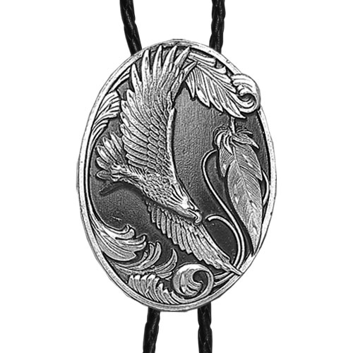 Large Bolo - Flying Eagle (Diamond Cut) - Siskiyou's original bolo ties feature a fully cast metal tie piece on a high quality black tie with metal tips.