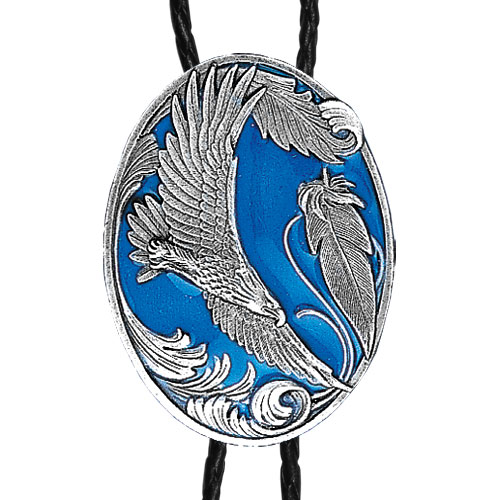 Large Bolo - Enameled Flying Eagle - Siskiyou's original bolo ties feature a fully cast metal tie piece on a high quality black tie with metal tips.