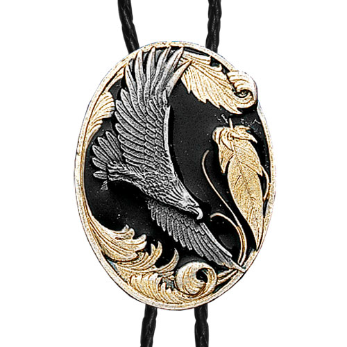 Large Gold Bolo - Flying Eagle - Siskiyou's original bolo ties feature a fully cast metal tie piece on a high quality black tie with metal tips.