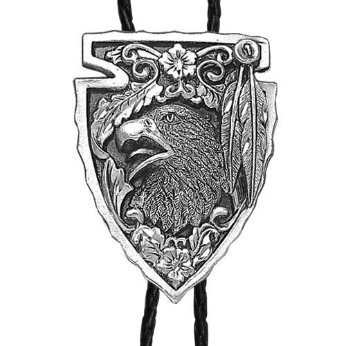 Large Bolo - Arrowhead with Eagle (Diamond Cut) - Siskiyou's original bolo ties feature a fully cast metal tie piece on a high quality black tie with metal tips.
