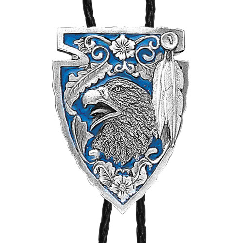 Large Bolo - Enameled Arrowhead with Eagle - Siskiyou's original bolo ties feature a fully cast metal tie piece on a high quality black tie with metal tips.