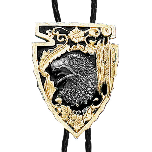 Large Gold Bolo - Arrowhead with Eagle - Siskiyou's original bolo ties feature a fully cast metal tie piece on a high quality black tie with metal tips.