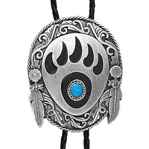 Large Bolo - Bear Claw and Stone - Siskiyou's original bolo ties feature a fully cast metal tie piece on a high quality black tie with metal tips.