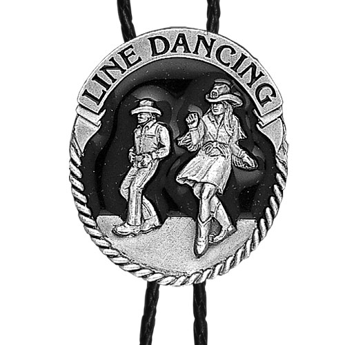 Large Bolo - Line Dancing - Siskiyou's original bolo ties feature a fully cast metal tie piece on a high quality black tie with metal tips.
