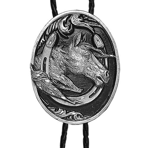 Large Bolo - Horse head in Horseshoe (Diamond Cut) - Siskiyou's original bolo ties feature a fully cast metal tie piece on a high quality black tie with metal tips.
