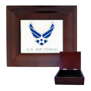 Collector's Gift Box - US Air Force - This Air Force gift box is inlaid with finely sculpted and enameled.  Our collector boxes are fully lined and are perfect for jewelry, playing cards, TV remotes and more! Check out our entire line of  Air Force merchandise!