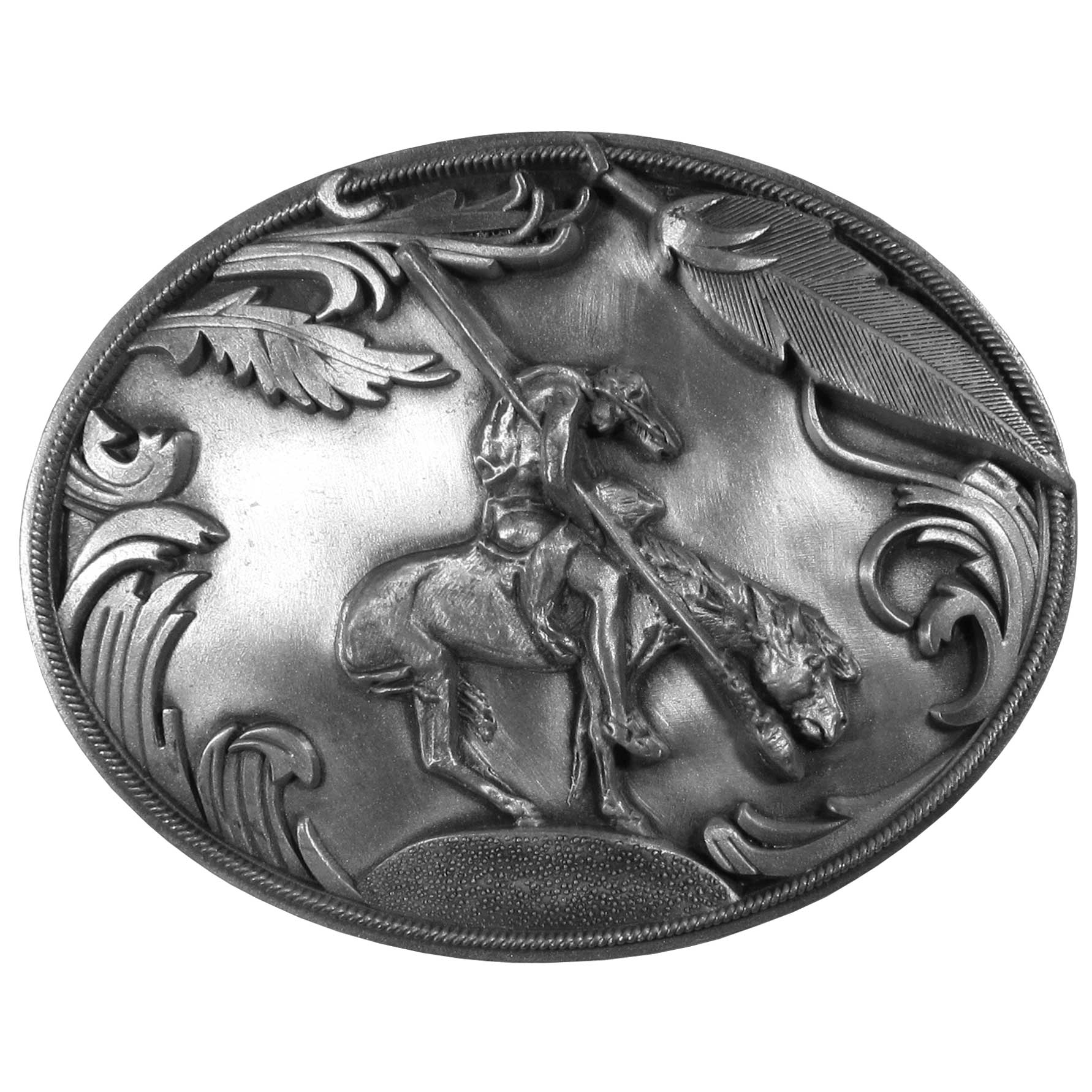 "End of the Trail Antiqued Belt Buckle - ""End of the Trail buckle depicts an American Indian brave hanging limp as his horse comes to an abrupt halt just prior to momentum carrying him over an unseen precipice.  This exquisitely carved buckle is made of fully cast metal with a standard bale that fits up to 2"""" belts."""