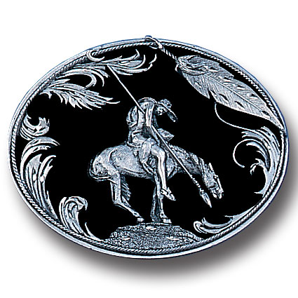 Belt Buckle - End of the Trail (Diamond Cut) - This finely sculpted belt buckle contains exceptional 3D detailing and diamond cut accents depicting the famous End of the Trail Indian. Siskiyou's unique buckle designs often become collector's items and are unequaled with the best craftsmanship.