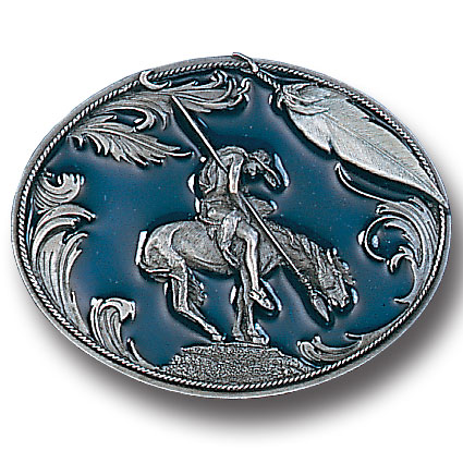 Belt Buckle - End of the Trail  - This finely sculpted and hand enameled belt buckle contains exceptional 3D detailing depicting the famous End of the Trail Indian. Siskiyou's unique buckle designs often become collector's items and are unequaled with the best craftsmanship.