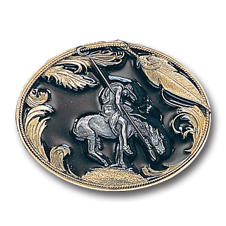Belt Buckle - End of the Trail (Gold Vivatone) - This finely sculpted belt buckle contains exceptional 3D detailing and is finished with gold vivatone depicting the famous End of the Trail Indian. Siskiyou's unique buckle designs often become collector's items and are unequaled with the best craftsmanship.