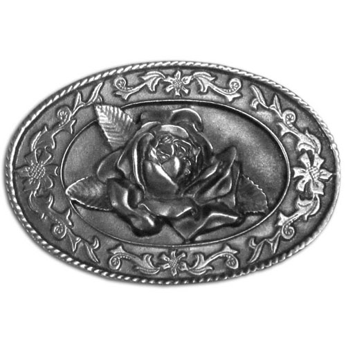 Belt Buckle - Small Rose - Finely sculpted and intricately designed rose belt buckle. Our unique designs often become collector's items. Check out our entire line of  belt buckles.