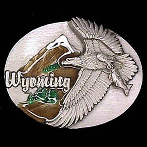 Belt Buckle - Wyoming Eagle  - This finely sculpted and hand enameled Wyoming belt buckle contains exceptional 3D detailing. Siskiyou's unique buckle designs often become collector's items and are unequaled with the best craftsmanship.