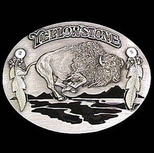 Belt Buckle - Yellowstone Bison - This finely sculpted and hand enameled Yellowstone belt buckle contains exceptional 3D detailing. Siskiyou's unique buckle designs often become collector's items and are unequaled with the best craftsmanship.