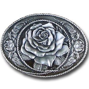 Belt Buckle - Western Rose - Finely sculpted and intricately designed rose belt buckle. Our unique designs often become collector's items. Check out our entire line of  belt buckles.