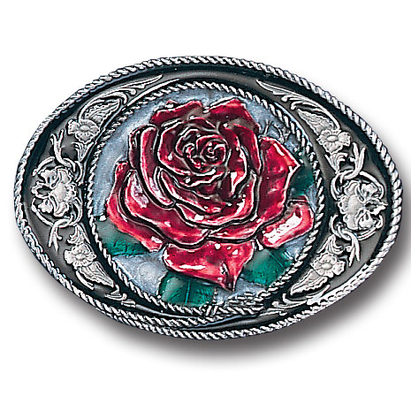 Belt Buckle - Western Rose - This finely sculpted and hand enameled rose belt buckle contains exceptional 3D detailing. Siskiyou's unique buckle designs often become collector's items and are unequaled with the best craftsmanship.
