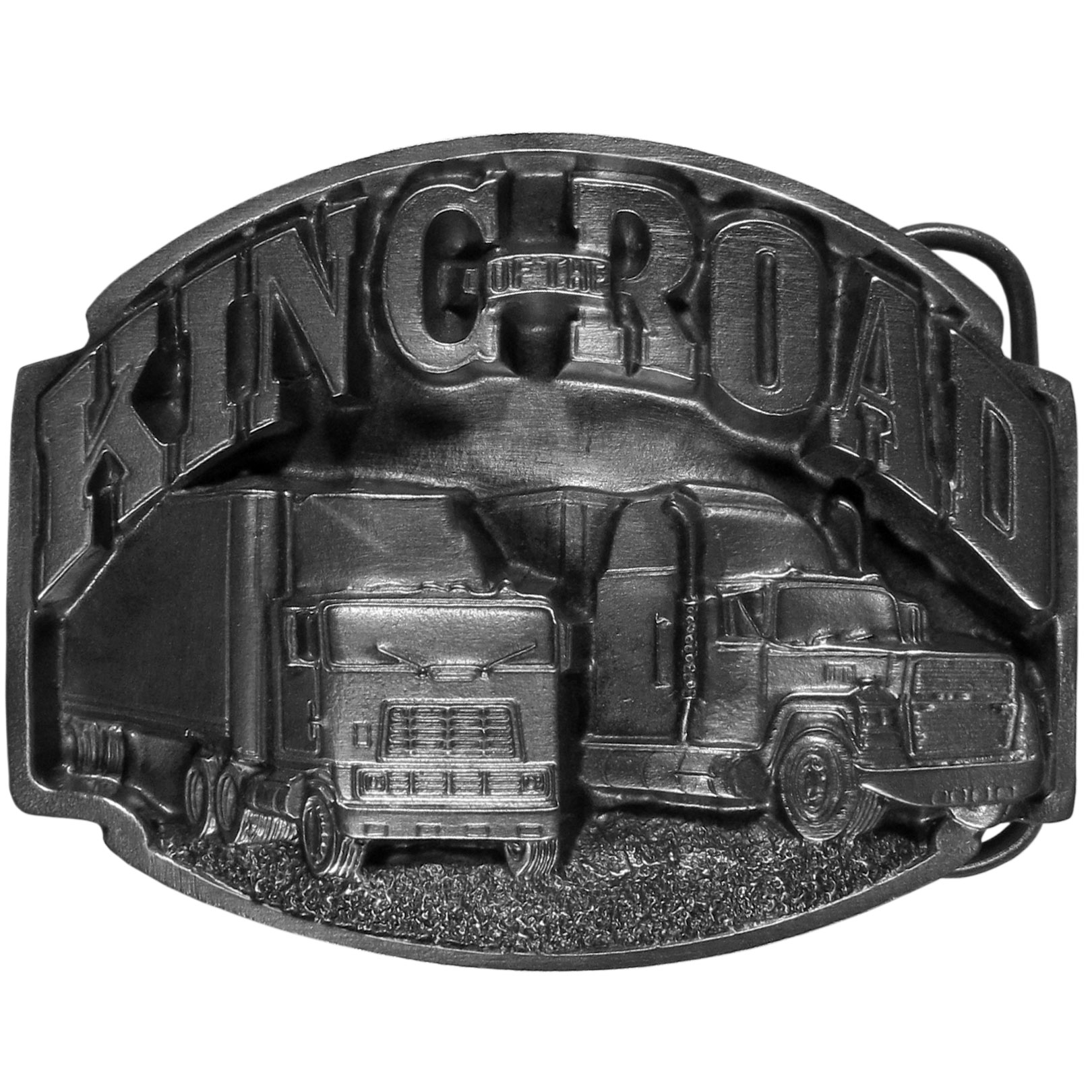 "King of the Road  Antiqued Belt Buckle - ""This belt buckle features two semi-trucks and the words """"King of the Road"""" in bold celebrating the proud American Truck Drivers.  Finely sculpted and intricately designed belt buckle. The bale fits belts up to 2 inches wide."""