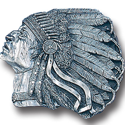 Belt Buckle - Pontiac Indian (Diamond Cut) - This finely sculpted Pontiac Indian belt buckle contains exceptional 3D detailing and diamond cut accents. Siskiyou's unique buckle designs often become collector's items and are unequaled with the best craftsmanship.