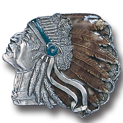 Belt Buckle - Pontiac Indian  - This finely sculpted and enameled Pontiac Indian belt buckle contains exceptional 3D detailing. Siskiyou's unique buckle designs often become collector's items and are unequaled with the best craftsmanship.